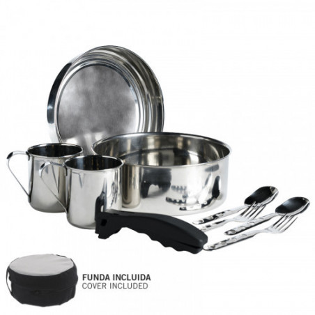 St. steel cooking set 20 cm. with neoprene cover.