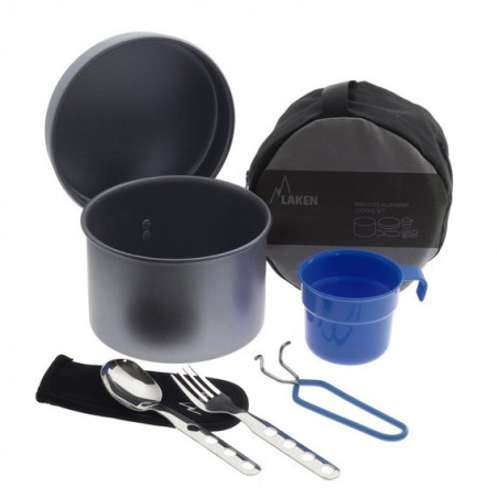 Non stick aluminium cooking set with cutlery, cup