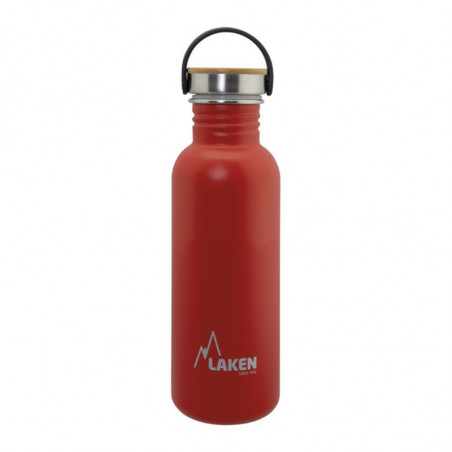Basic Steel Bottle 750ml ,Bamboo S/S Cap - Red